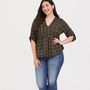 Torrid Green Plaid Babydoll Pullover Blouse